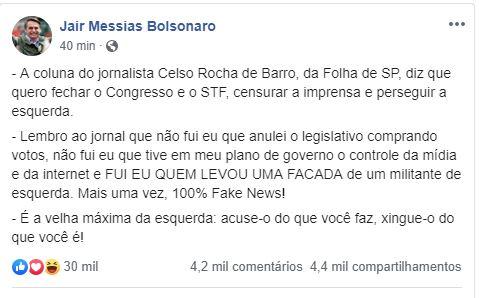 PUBLICAÇÃO BOLSONARO MITO - 'FAKE NEWS': Bolsonaro contra-ataca a 'Folha' e nega intenção de fechar Congresso e STF