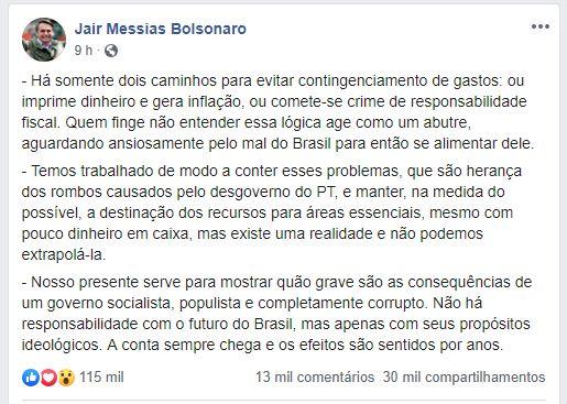 PUBLICAÇÃO BOLSONARO - BOLSONARO ATRIBUI CRISE FISCAL AO PT: 'a conta sempre chega e os efeitos são sentidos por anos'