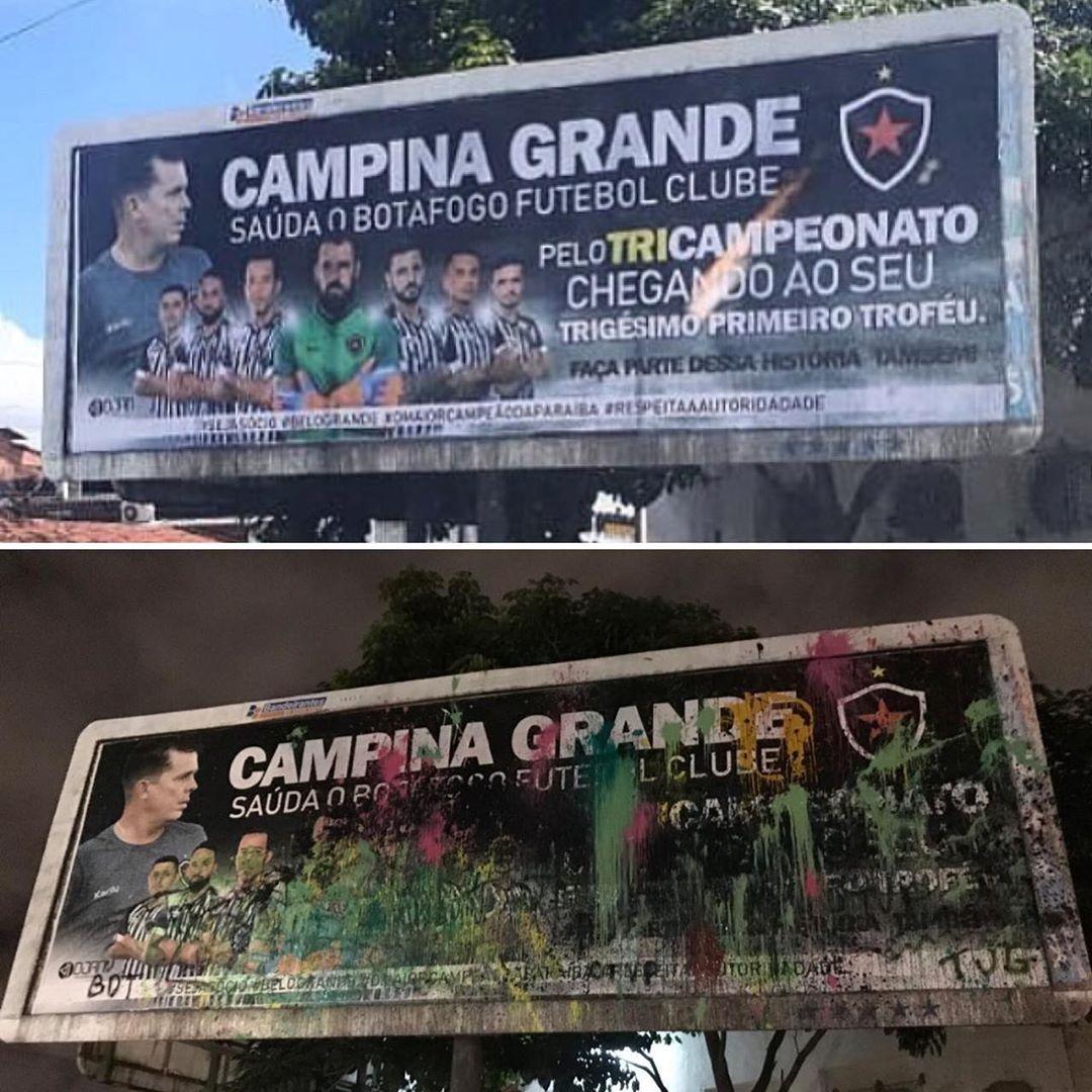 botafogo campina grande - O OUTDOOR DA DISCÓRDIA: Homenagem ao Botafogo-PB em Campina Grande causa polêmica e amanhece vandalizado