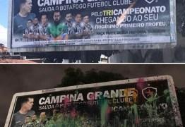 O OUTDOOR DA DISCÓRDIA: Homenagem ao Botafogo-PB em Campina Grande causa polêmica e amanhece vandalizado