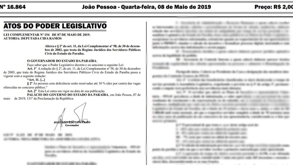 lei que amplia percentual de vagas reservadas para pessoas  - Governador sanciona lei que amplia para 10% vagas reservadas para deficientes em concursos na PB