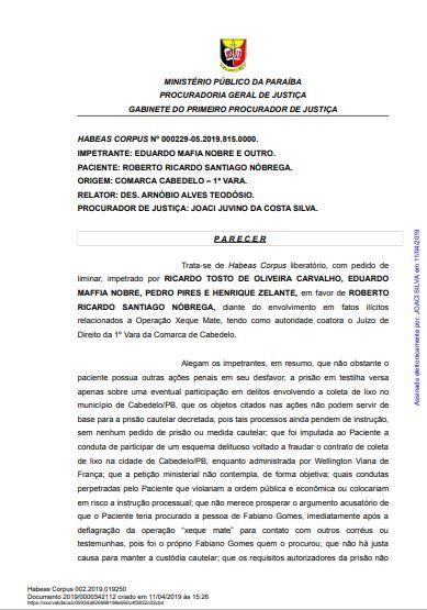 mp1 - CRISE E RACHA NO MP: Parecer pela soltura de Roberto Santiago de Dr. Sagres é contestado pelo GAECO - VEJA NOTA