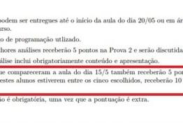 PONTUAÇÃO EXTRA: professor ofereceu cinco pontos a alunos que não participassem de manifestações