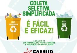 Famup lança campanha incentivando municípios a implantar coleta seletiva