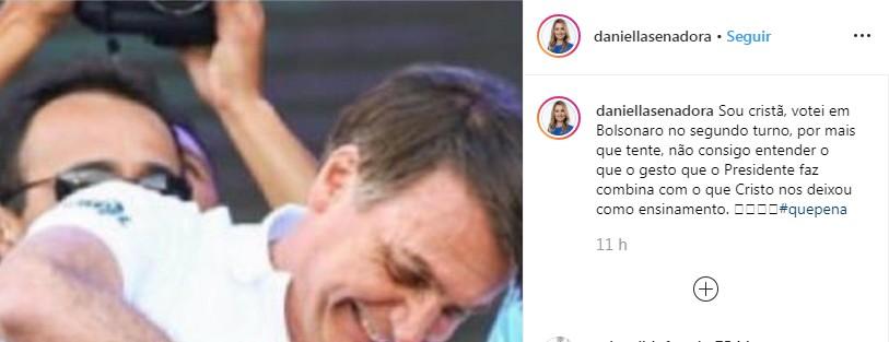 Capturart - FAZ 'ARMINHA COM A MÃO', SENADORA!: Gesto de Bolsonaro não combina com o que Cristo nos deixou como ensinamento, diz Daniella Ribeiro