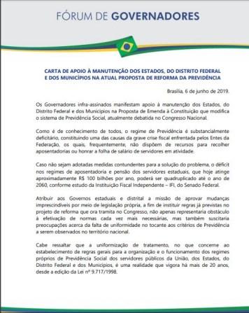 carta 239x300 - CARTA PÚBLICA: governador da Paraíba assina carta em apoio a reforma da Previdência