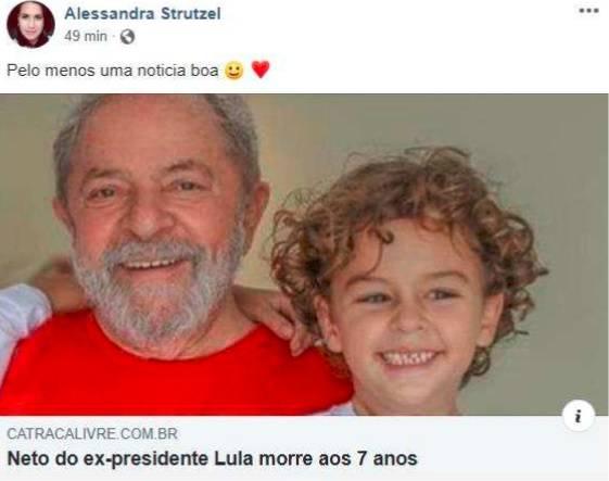 post2 - Lula processa mulher que comemorou a morte de seu neto