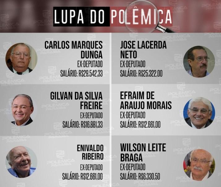 Lupa 6   Deputados Estaduais - LUPA DO POLÊMICA: 56 ex-deputados estaduais recebem aposentadoria especial na Paraíba - VEJA TABELA COMPLETA