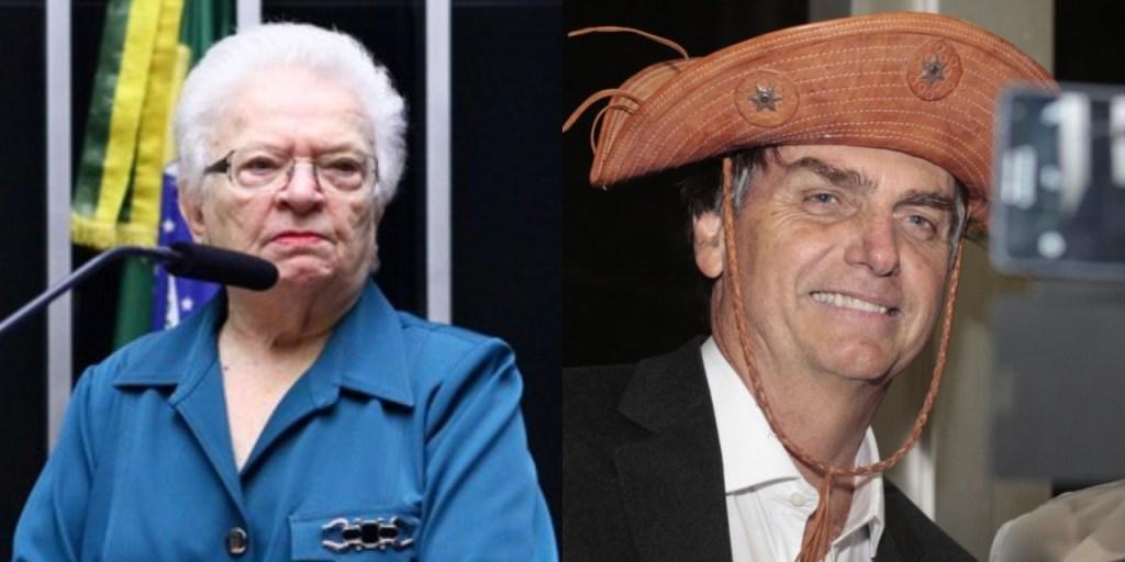 erundina e bolsonaro 1024x512 - 'Não se fantasie com chapéu de couro que só fica bem na cabeça de cidadão digno e honrado', diz Luiza Erundina
