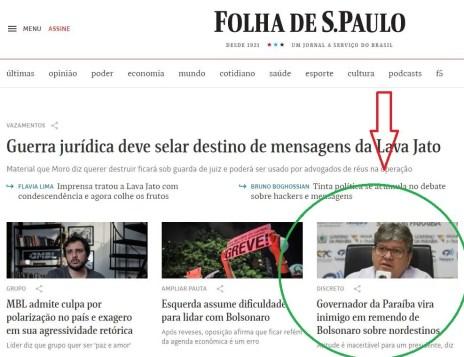 folhas 300x231 - Folha de SP aponta João Azevêdo como ' discreto inimigo em remendo de Bolsonaro sobre nordestinos', mas mostra pulso firme de gestor