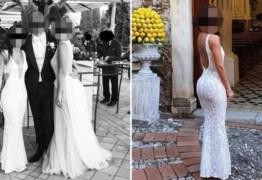 Mulher vai vestida de noiva para casamento de amigo