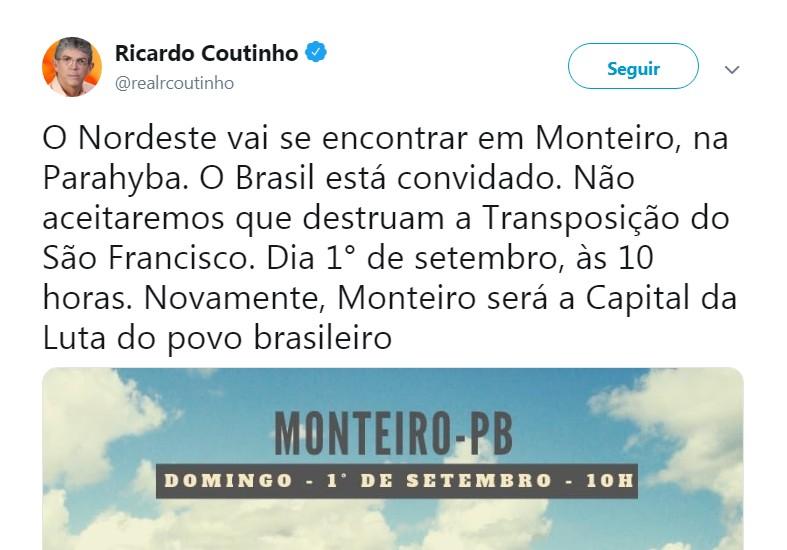 Capturar 17 - RC anuncia manifestação 'SOS Transposição – Grito do Nordeste'