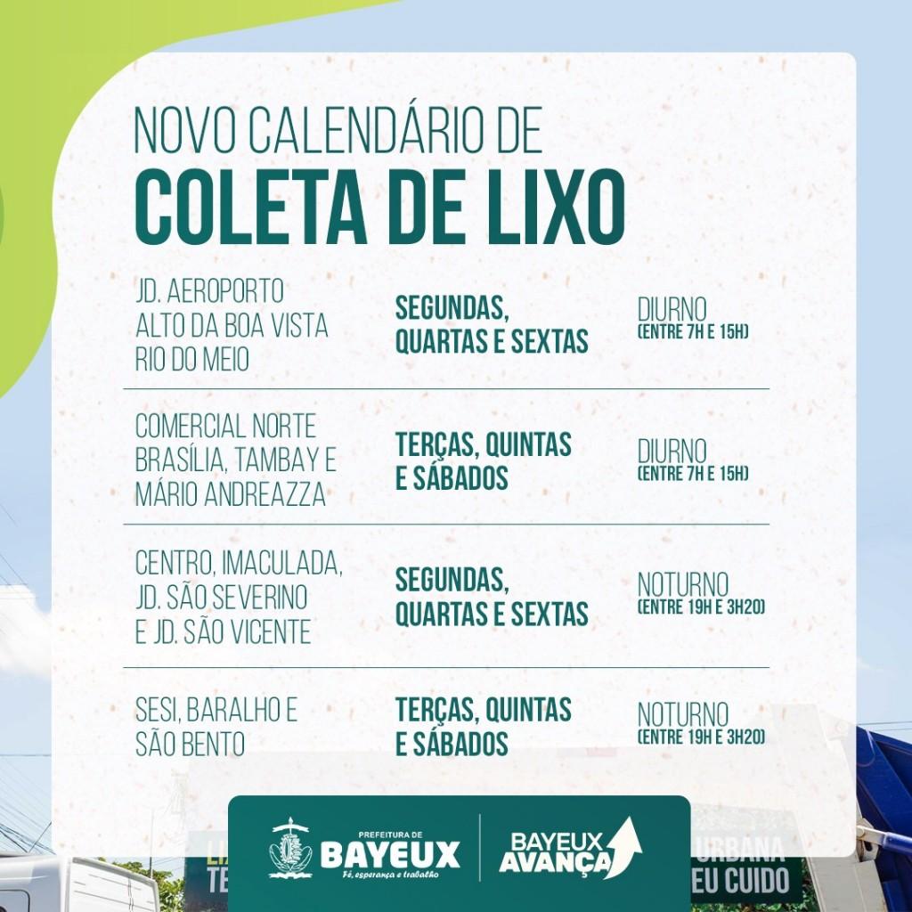 d1bc857f5dd7f855e1c12a23a4923f2c - Prefeitura de Bayeux divulga novo calendário de coleta de lixo nos bairros