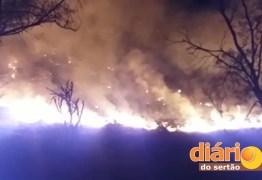 Bombeiros controlam incêndio de grandes proporções em matagal no interior do Estado; VEJA VÍDEO