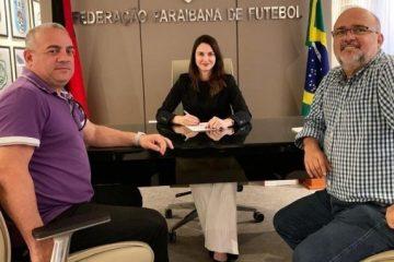 meira walter michelle e1566569663937 678x381 - Presidente da FPF se reúne com dirigentes de Treze e Botafogo-PB antes do Clássico Tradição