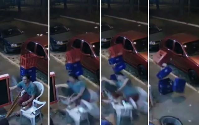montagem roda 14 08 19 - Homem de muleta é atingido por roda que se solta de carro em movimento - VEJA VÍDEO