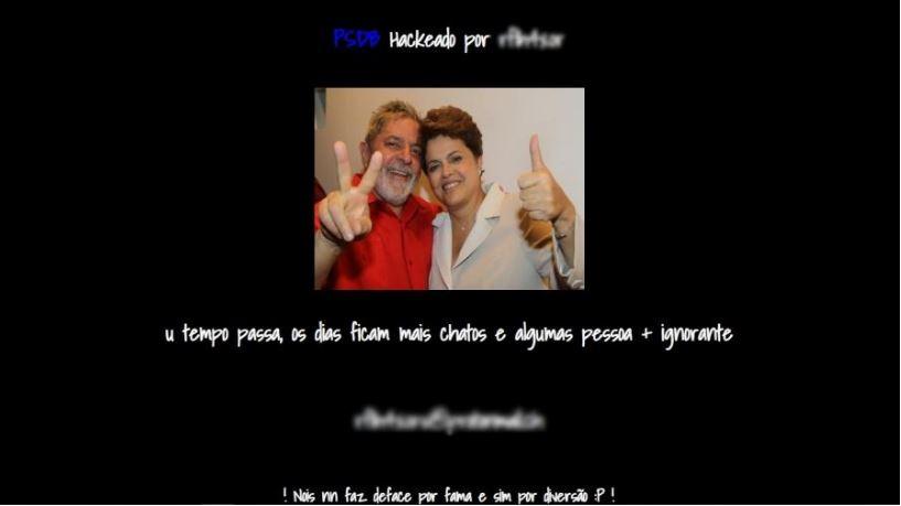 site psdb hackeado lula e dilma - INVASÃO: Site do PSDB é hackeado e mostra foto de Lula e Dilma