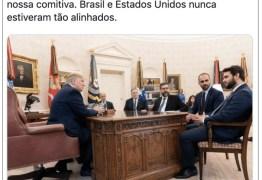 Bolsonaro comemora após Casa Branca divulgar imagens de encontro entre Eduardo e Trump