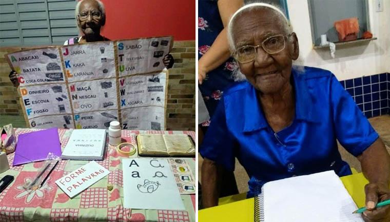 vovo - Após ser impedida de estudar, idosa de 104 anos aprende a ler e escrever para realizar grande sonho