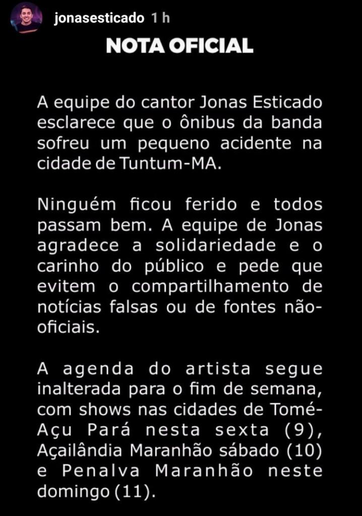 whatsapp image 2019 08 09 at 10.05.24 1 - GRAVE: Acidente envolvendo ônibus do cantor Jonas Esticado deixa três feridos