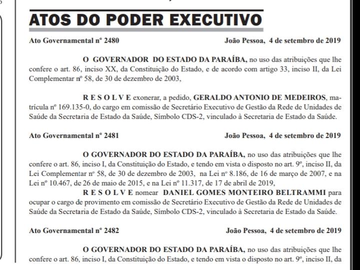 20190905 054956 - DIÁRIO OFICIAL: Geraldo Medeiros é nomeado como secretário de Estado da Saúde da PB
