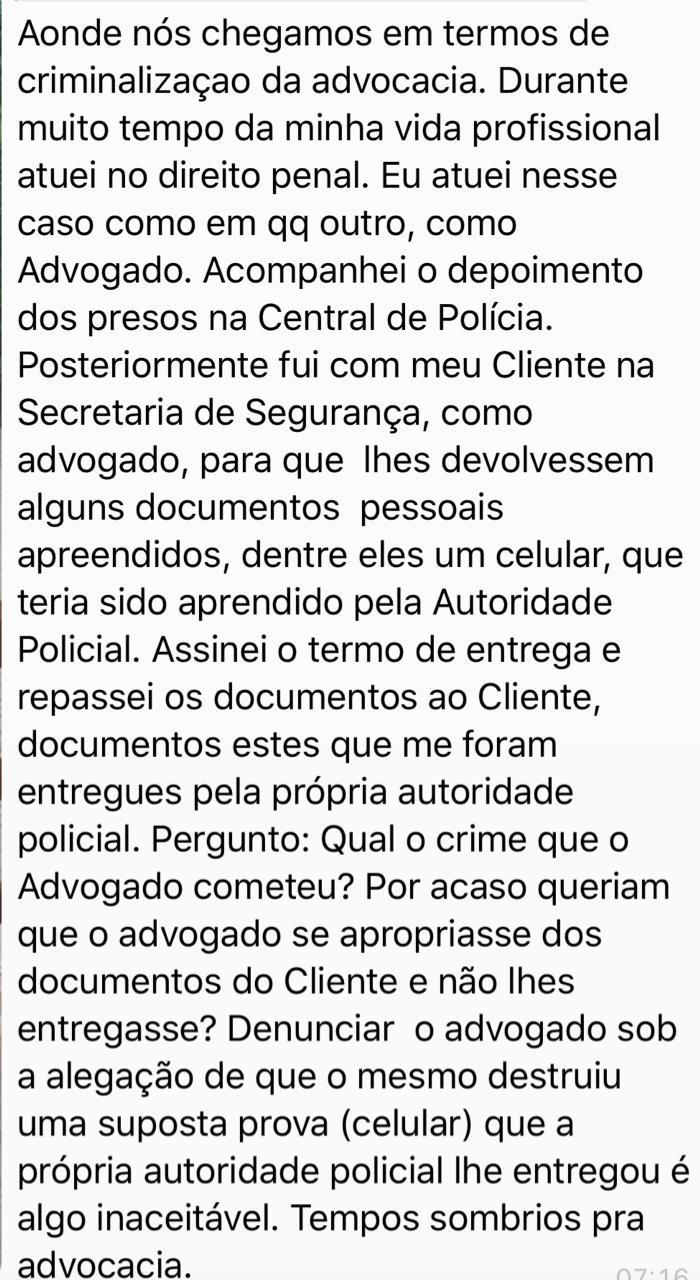 WhatsApp Image 2019 09 05 at 10.32.46 3 - 'TEMPOS SOMBRIOS PARA ADVOCACIA': Advogado citado em Operação Calvário rebate acusações sobre subtrações de provas