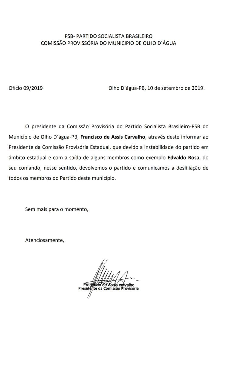 WhatsApp Image 2019 09 11 at 11.13.54 - UM CIDADE INTEIRA DE FORA: Crise no PSB faz todos os membros de uma cidade se desfiliarem do partido