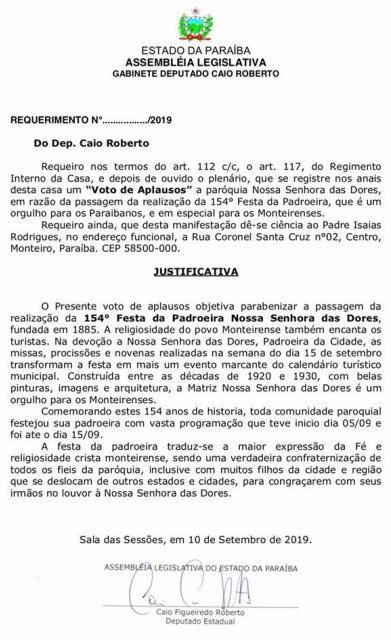 caio roberto requerimento - Caio Roberto pede voto de aplausos para Paróquia Nossa Senhora das Dores em Monteiro