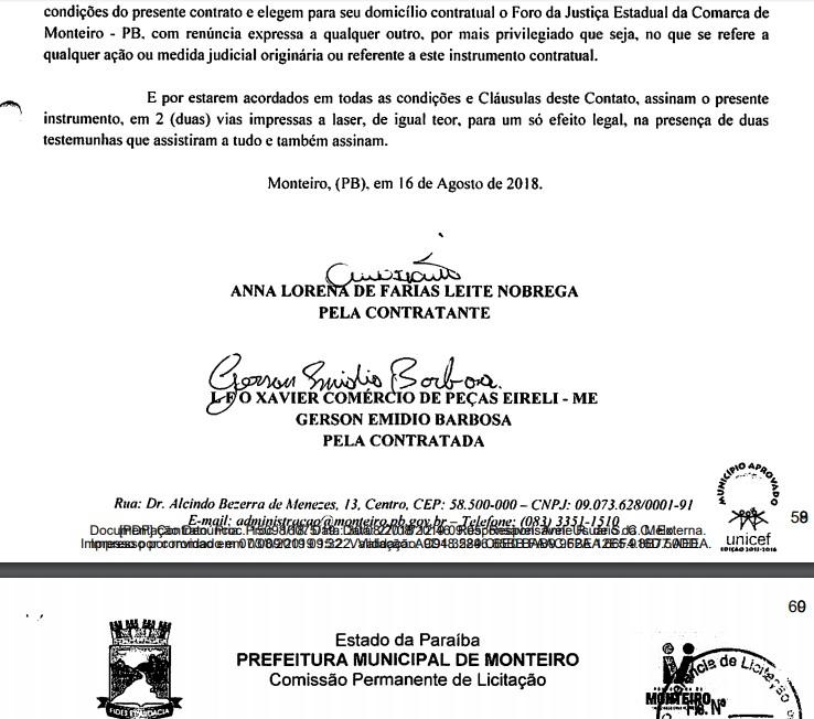 doc - Contratou empresa de fachada do vice: TCE recebe denúncia contra prefeita de Monteiro