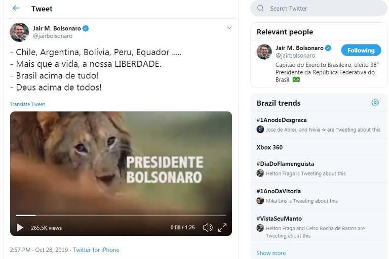 15722882335db736e91441d 1572288233 3x2 md - Publicação de Bolsonaro gera mal-estar no Supremo e infla ânimos no PSL; VEJA VÍDEO