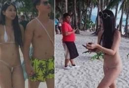 Turista é multada por biquíni fio-dental em praia filipina