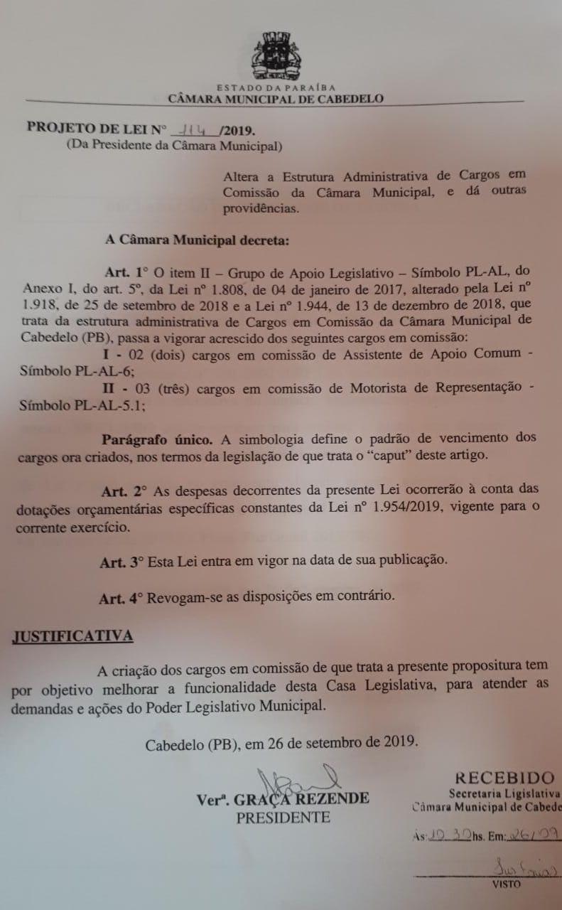 WhatsApp Image 2019 10 11 at 17.15.21 - IMPACTO DE R$ 400 MIL: vereador denuncia criação de 15 cargos desnecessários na Câmara de Cabedelo; VEJA VÍDEOS E DOCUMENTOS