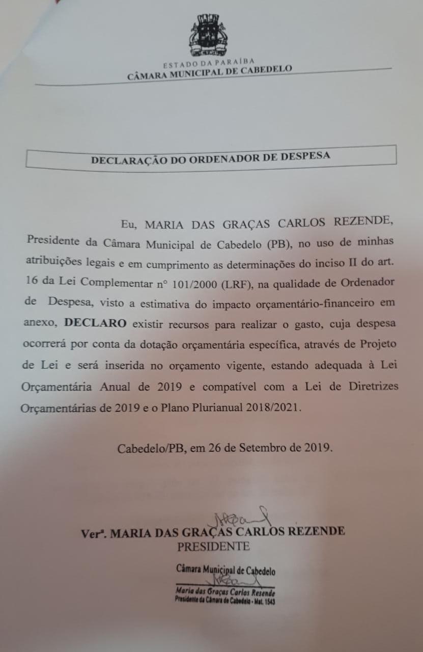 WhatsApp Image 2019 10 11 at 17.15.57 2 - IMPACTO DE R$ 400 MIL: vereador denuncia criação de 15 cargos desnecessários na Câmara de Cabedelo; VEJA VÍDEOS E DOCUMENTOS