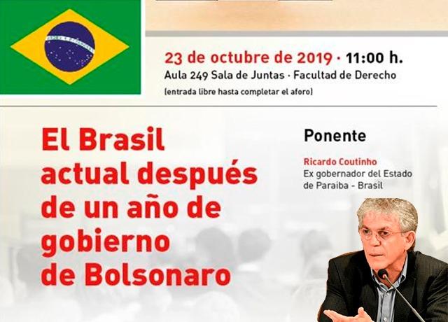 WhatsApp Image 2019 10 21 at 16.50.35 - 'UM ANO DO GOVERNO BOLSONARO': na Europa, Ricardo Coutinho fará palestra sobre democracia no Brasil