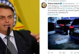 XEQUE MATE NAS REDES SOCIAIS: Bolsonaro destaca operação na Paraíba para seguidores