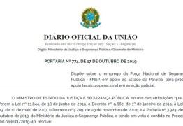 Uso da Força Nacional na Paraíba é autorizada por Sérgio Moro
