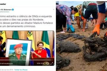 print - Bolsonaro relaciona vazamento de 'óleo venezuelano' nas praias do nordeste a Dilma e ao PT