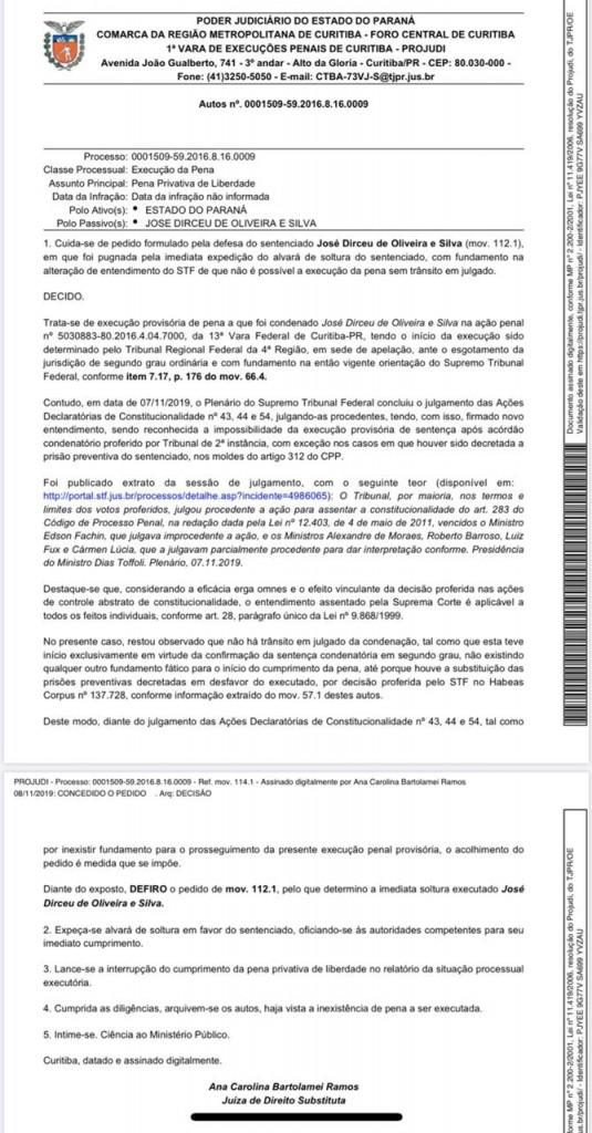WhatsApp Image 2019 11 08 at 20.16.42 - ZÉ DIRCEU SOLTO: juíza determina liberdade do ex-ministro - VEJA DOCUMENTO