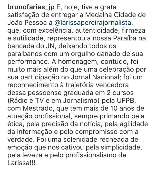 """WhatsApp Image 2019 11 12 at 19.01.03 - Homenagem: Após representar a Paraíba na Globo, Larissa Pereira recebe """"Medalha Cidade de João Pessoa"""""""