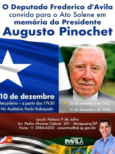 alesp organiza homeangem a pinochet 1574280312345 v2 450x600 - Ditador Pinochet será homenageado em evento na Assembleia Legislativa de SP