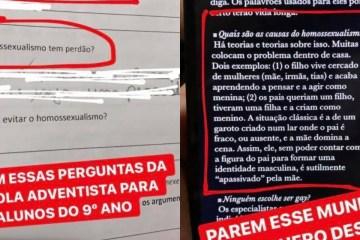 """""""Como evitar o homossexualismo?"""": pergunta professor de português em prova para alunos do nono ano"""