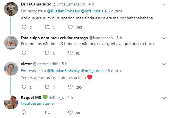 tuíte 3 - 'SAUDADE DO EX': Embaixada russa 'ignora' Bolsonaro em foto do Brics e usa arquivo de 2017 com Temer