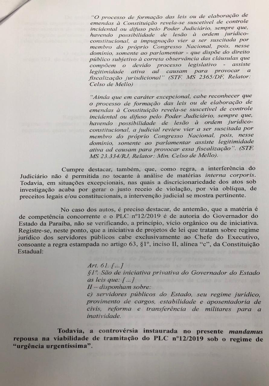 WhatsApp Image 2019 12 11 at 19.36.47 1 - Justiça aponta 'interesses sociais' e suspende urgência na votação da reforma da Previdência na ALPB; LEIA DECISÃO
