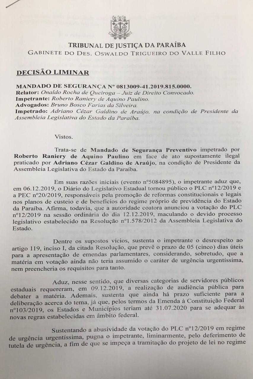 WhatsApp Image 2019 12 11 at 19.36.47 2 - Justiça aponta 'interesses sociais' e suspende urgência na votação da reforma da Previdência na ALPB; LEIA DECISÃO