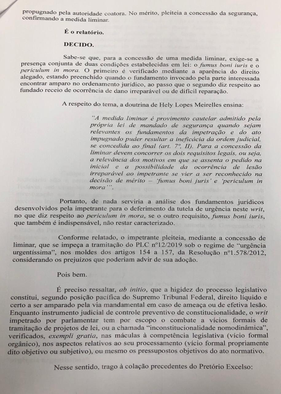 WhatsApp Image 2019 12 11 at 19.36.47 - Justiça aponta 'interesses sociais' e suspende urgência na votação da reforma da Previdência na ALPB; LEIA DECISÃO