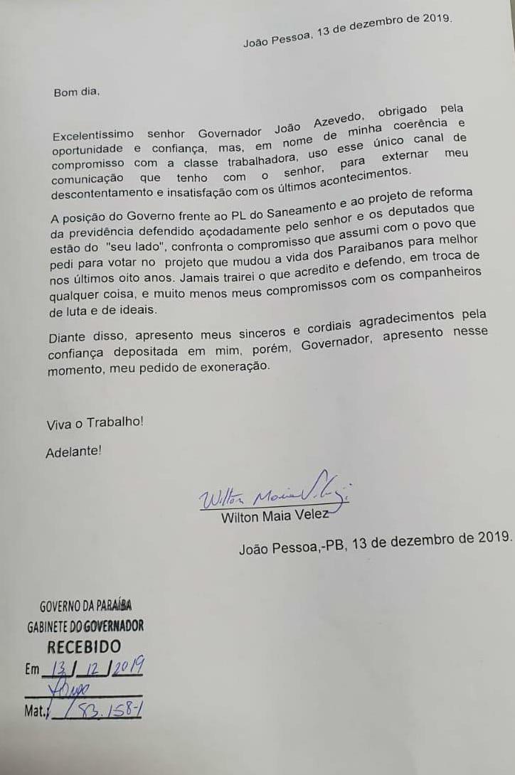 WhatsApp Image 2019 12 13 at 13.47.36 - PEDIU PRA SAIR: Presidente do Sindicato dos Urbanitários da Paraíba apresenta exoneração do governo de João Azevedo