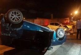 Carro capota após colidir com outro veículo em João Pessoa