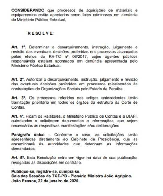 2 1 - CALVÁRIO: presidente do Tribunal de Contas manda desarquivar e revisar todas as decisões dos processos da operação