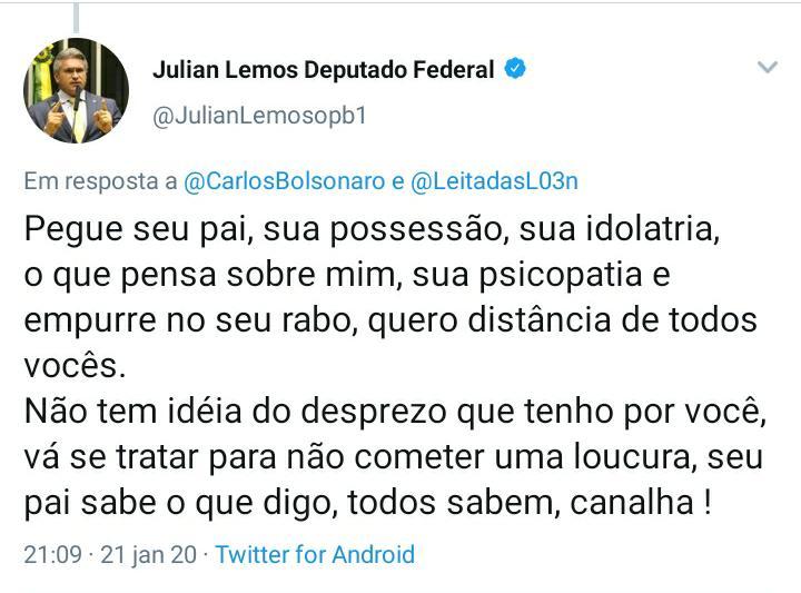 "JULIAN TWITTER CARLOS 2 - ""CADELA NO CIO"": Julian Lemos volta a discutir com Carlos Bolsonaro no Twitter - OUÇA"