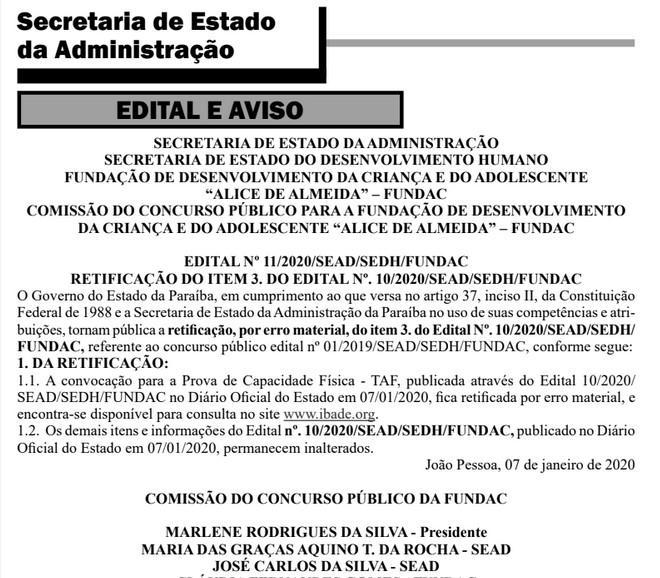 diario concurso fundac - Governo da Paraíba divulga mudanças em locais de prova física do concurso da Fundac